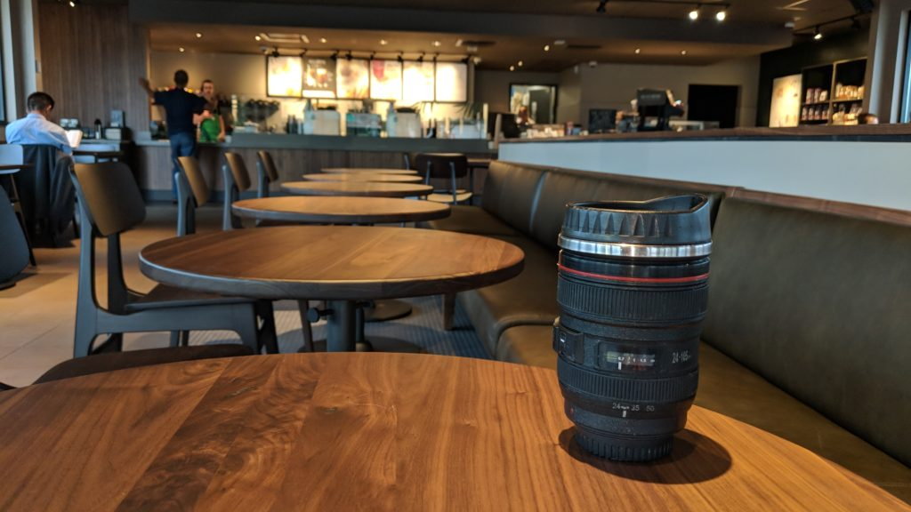 camera lens mug at Starbucks